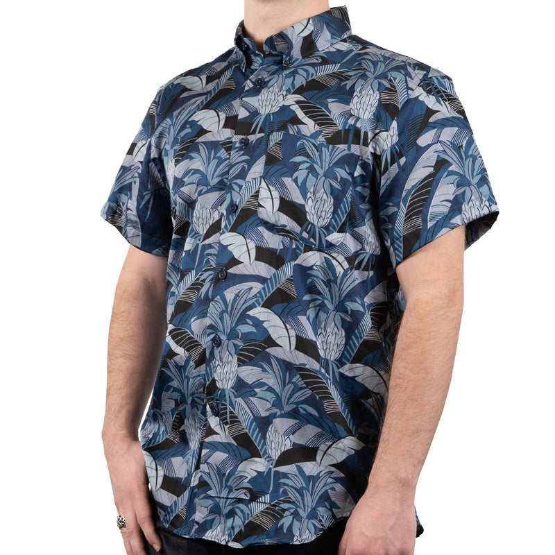 Short Sleeve Easy Shirt - Jungle Vacation - Blue - side shot