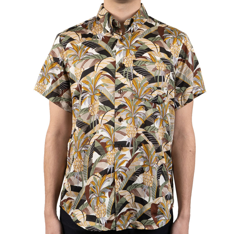 Short Sleeve Easy Shirt - Jungle Vacation - Brown / Green - front shot