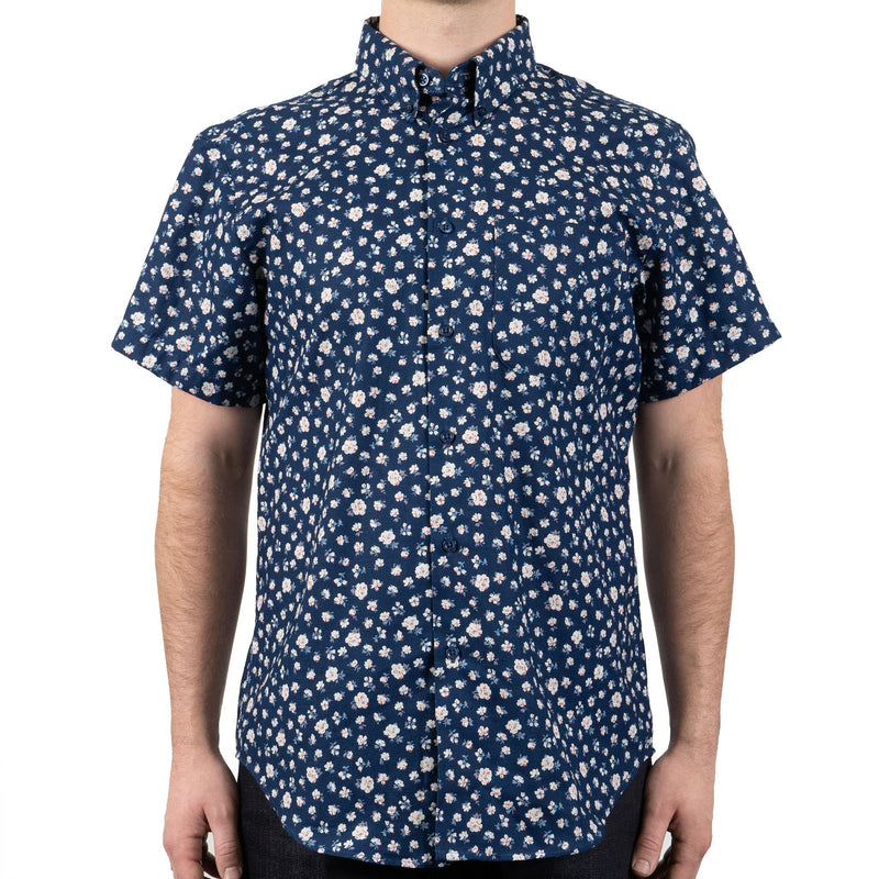 Short Sleeve Easy Shirt - Indigo Romantic Flowers - front shot
