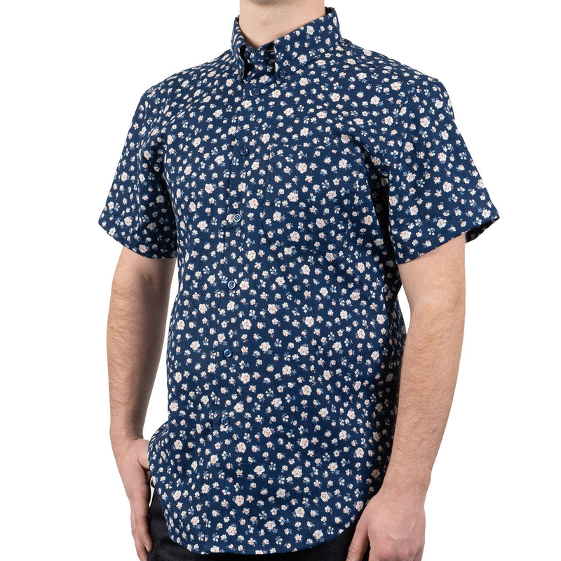 Short Sleeve Easy Shirt - Indigo Romantic Flowers - side shot