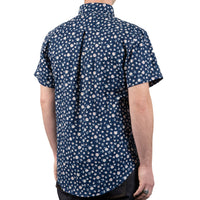 Short Sleeve Easy Shirt - Indigo Romantic Flowers - back shot