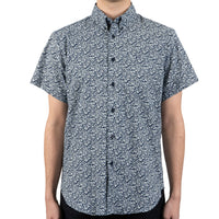 Short Sleeve Easy Shirt - Indigo Floral - front shot