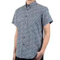Short Sleeve Easy Shirt - Indigo Floral - side shot