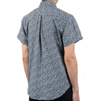 Short Sleeve Easy Shirt - Indigo Floral - back shot