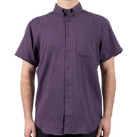 Short Sleeve Easy Shirt - Double Weave Gauze - Aubergine - front shot
