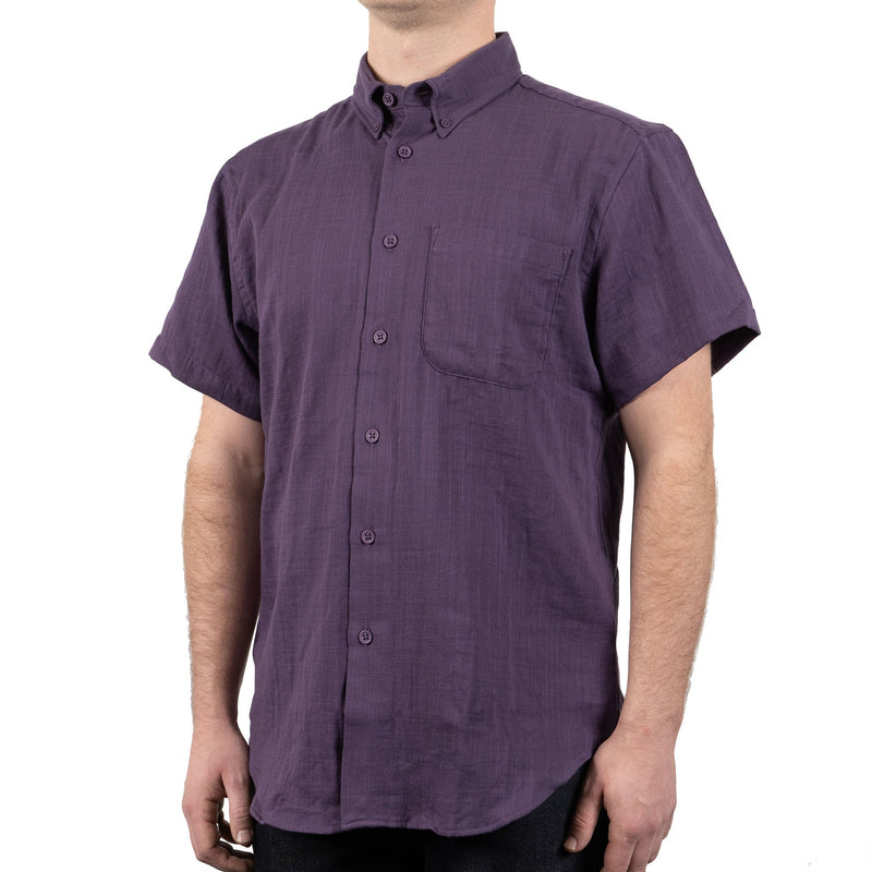 Short Sleeve Easy Shirt - Double Weave Gauze - Aubergine - side shot