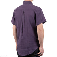 Short Sleeve Easy Shirt - Double Weave Gauze - Aubergine - back shot