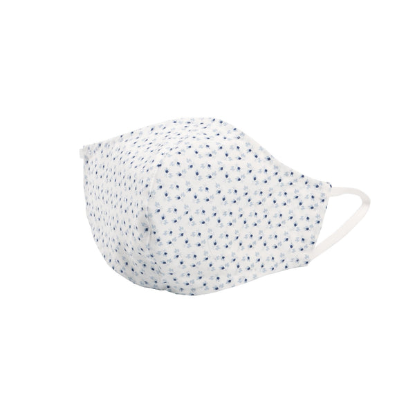 Protection Face Mask - Tiny Fowers White/Blue