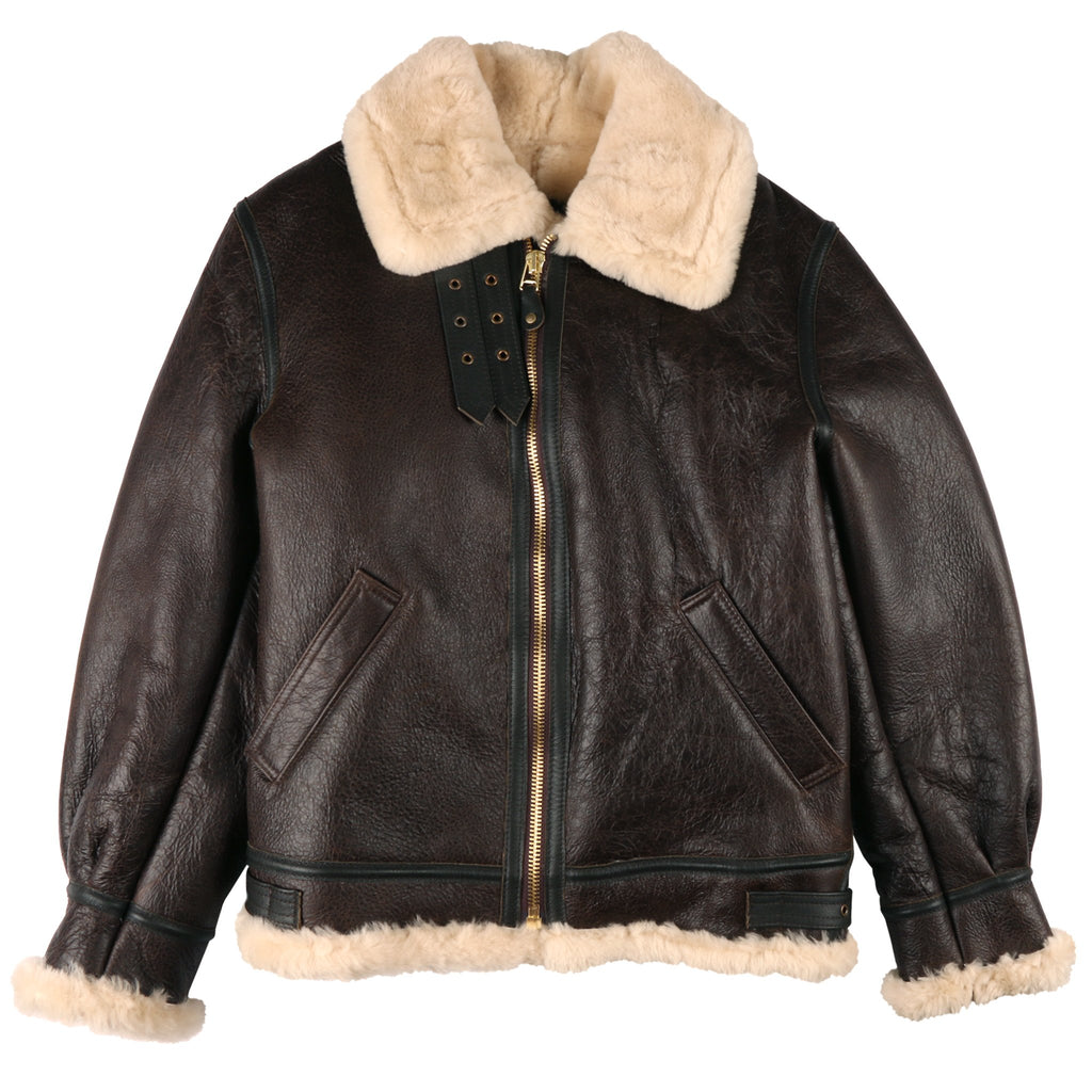 SCHOTT B-3 Brown Shearling Sheepsking Bomber Jacket
