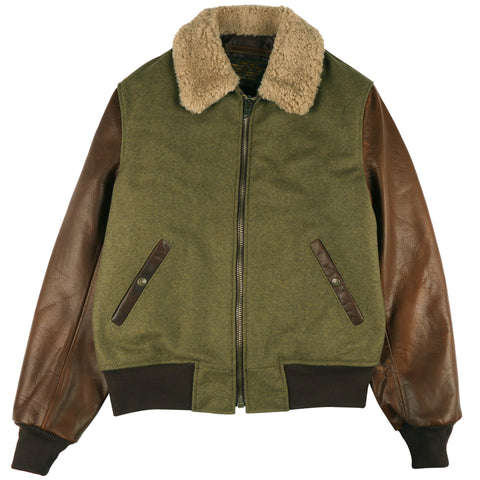 Schott - Wool Bomber Jacket with Leather Sleeves