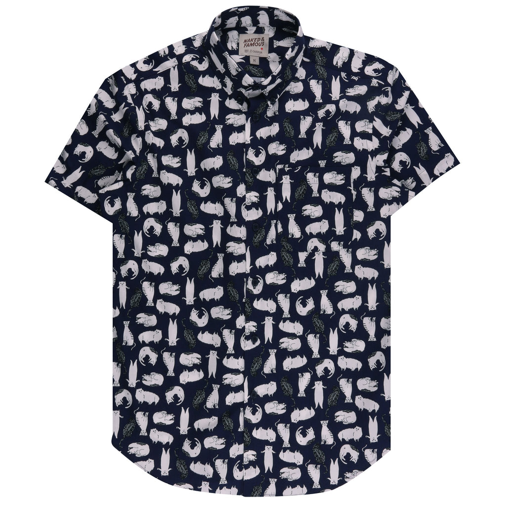 Short Sleeve Easy Shirt - Cats Sketches | Naked & Famous Denim