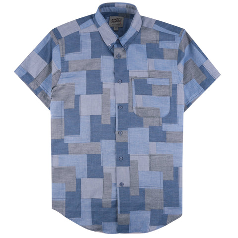 Short Sleeve Easy Shirt - Jacquard Abstract Blocks | Naked & Famous Denim