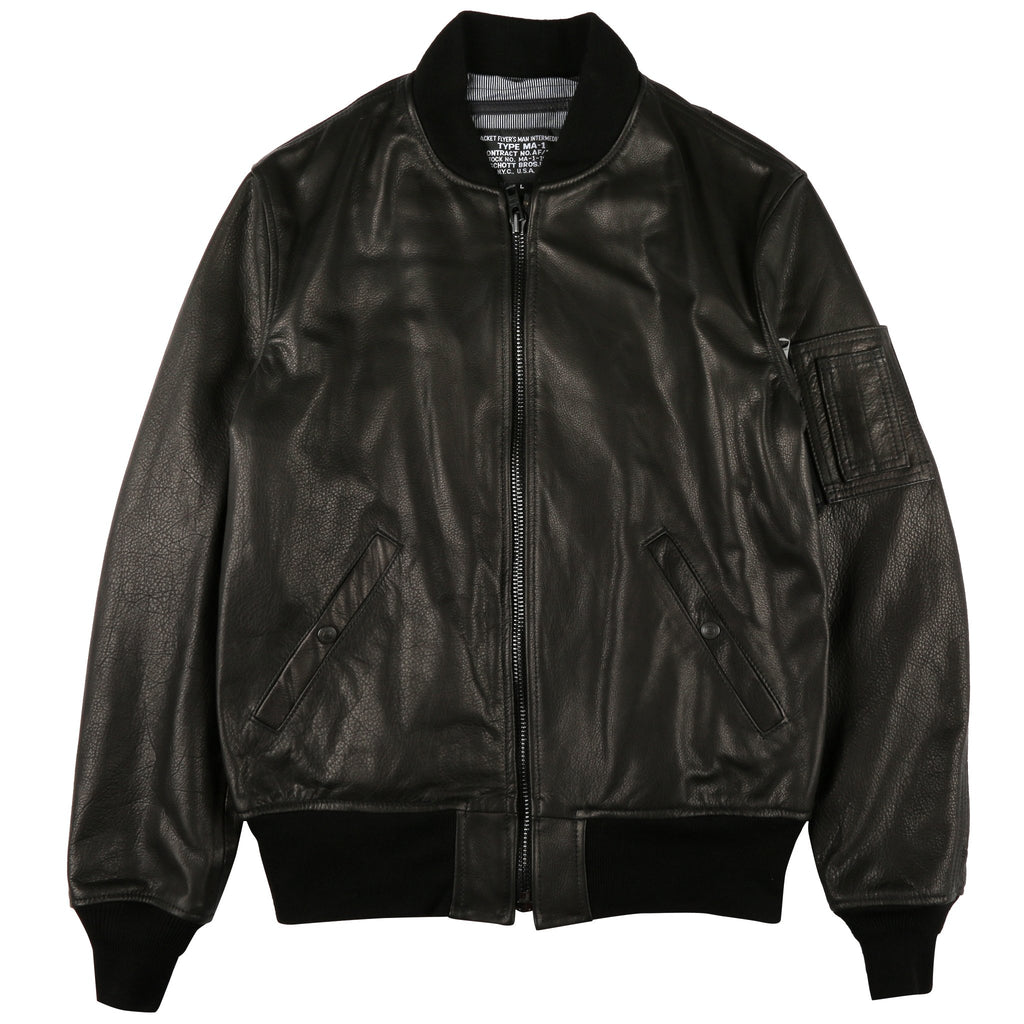 SCHOTT MA-1 Black Leather Bomber Jacket