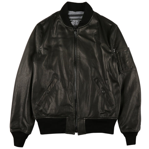 Schott - Lightweight Natural Pebble Cowhide Leather MA-1 Bomber Jacket