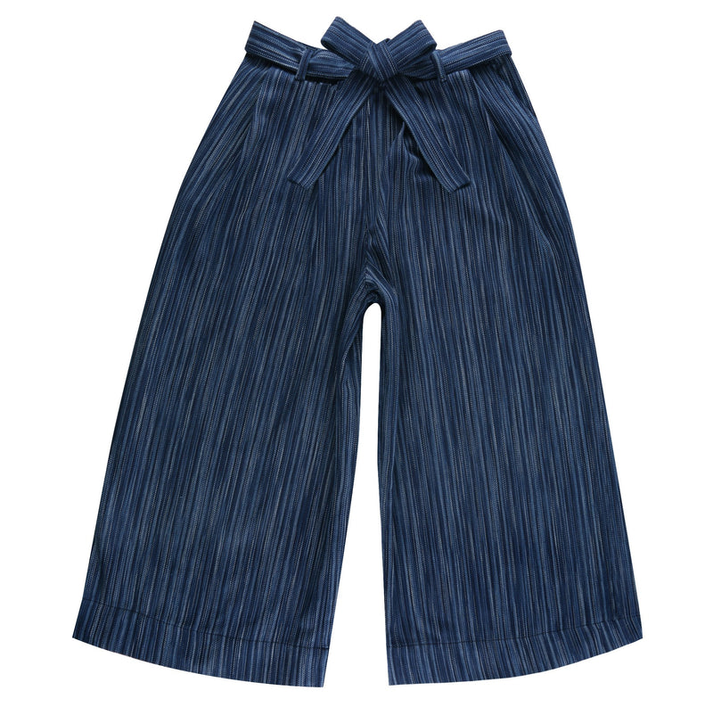 Women's - Wide Pants - Indigo Stripes - Dark Indigo