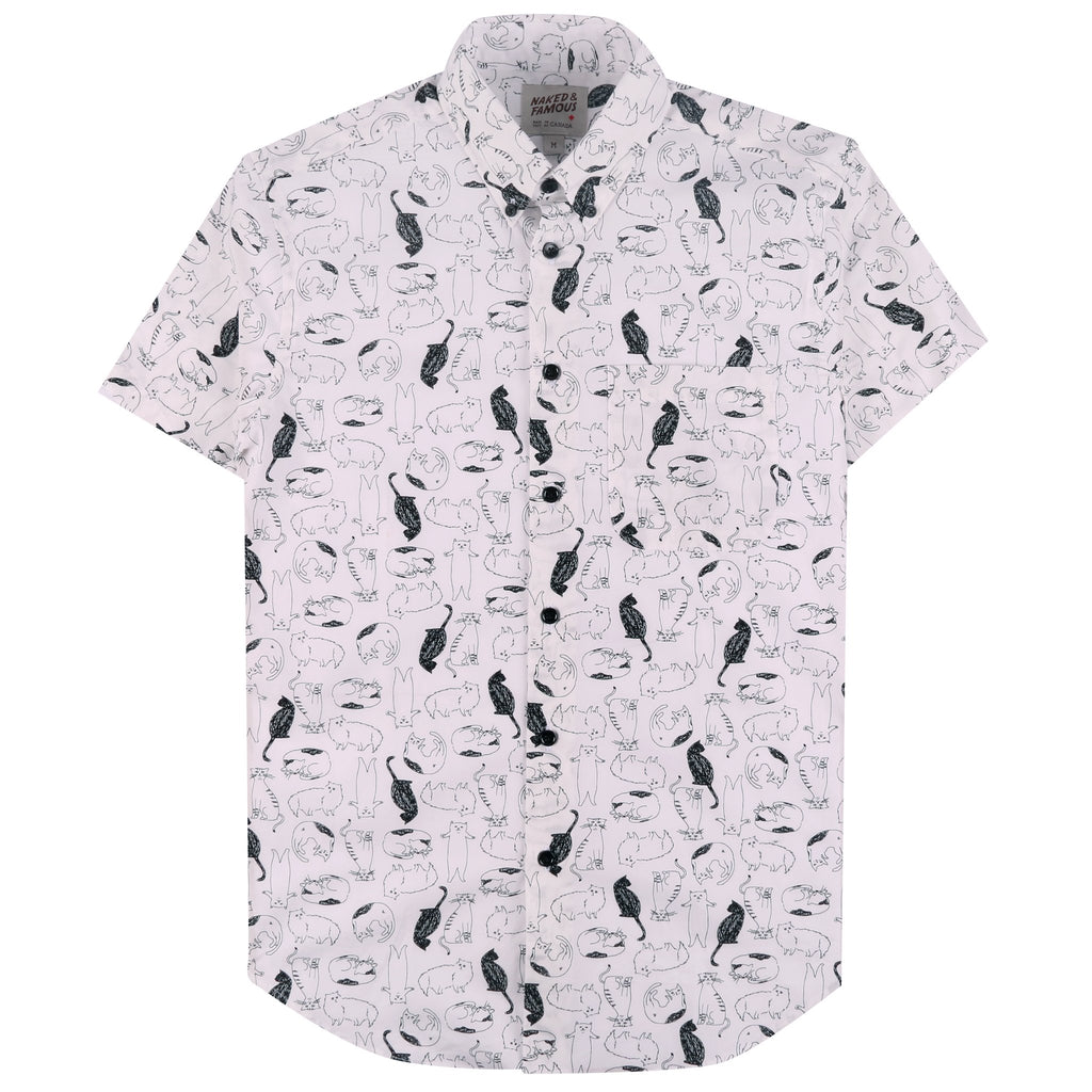 Short Sleeve Easy Shirt - Cats Sketches - White