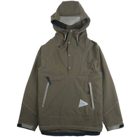 And Wander Khaki Nylon Double Cloth Hoodie