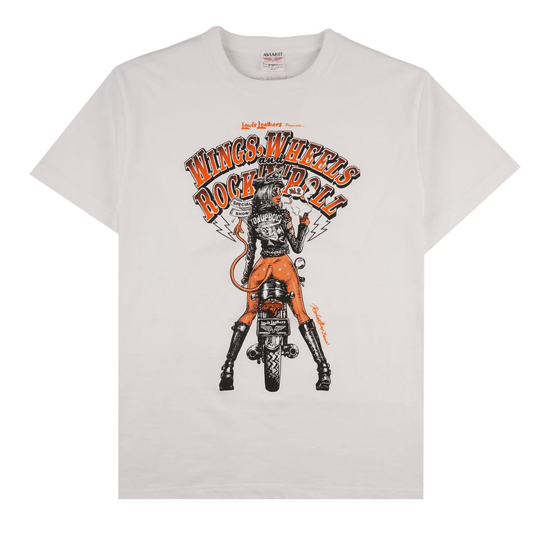 Wings, Wheels and Rock n Roll T-shirt - White - front