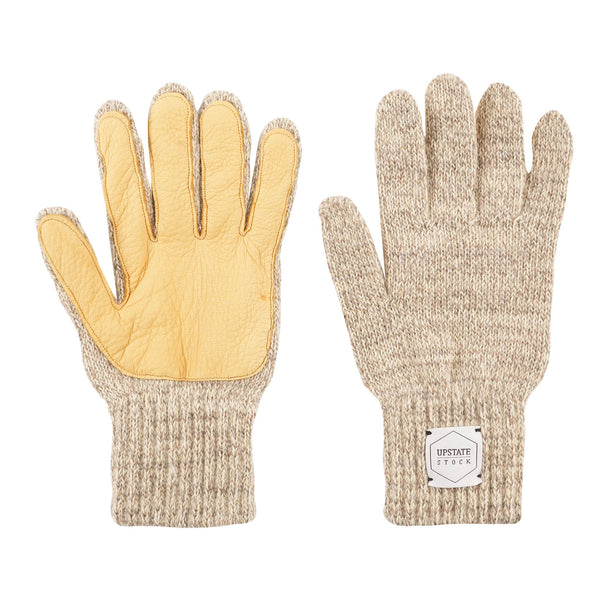 Ragg Wool Full Gloves - Oatmeal Melange With Natural Deerskin | Upstate Stock