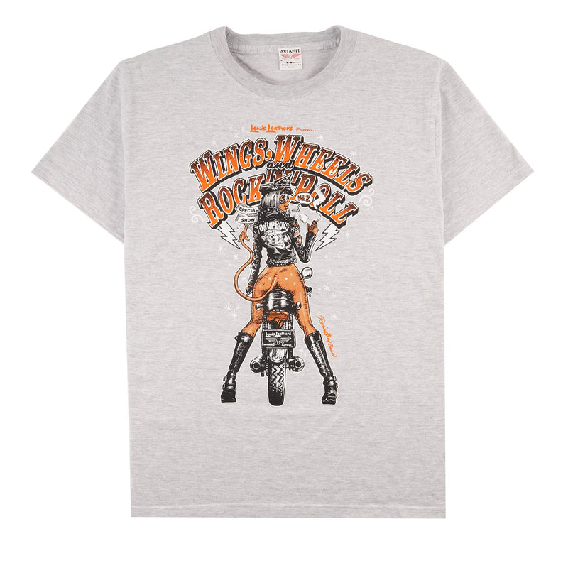 Wings, Wheels and Rock n Roll T-shirt - Grey - front