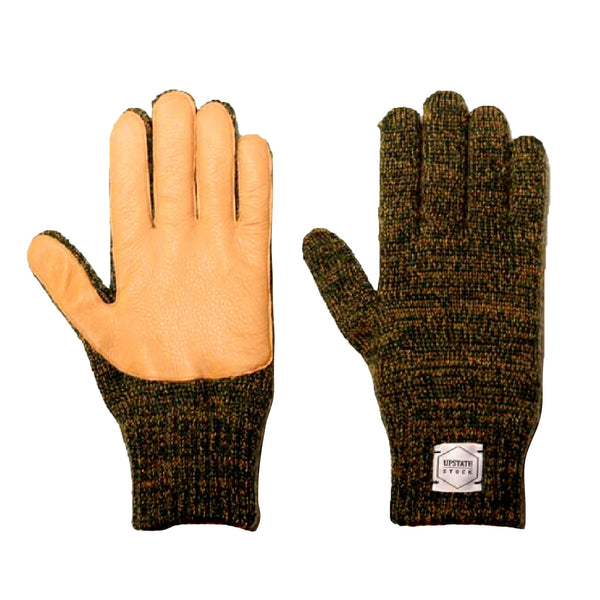 Ragg Wool Full Gloves - Jungle Melange With Natural Deerskin