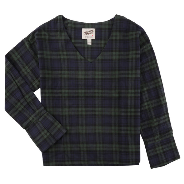 Women's - V Neck Blouse - Soft Stretch Check - Green/Navy