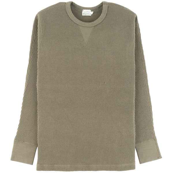 Burgus Plus - L/S Waffle Tee - Olive - front