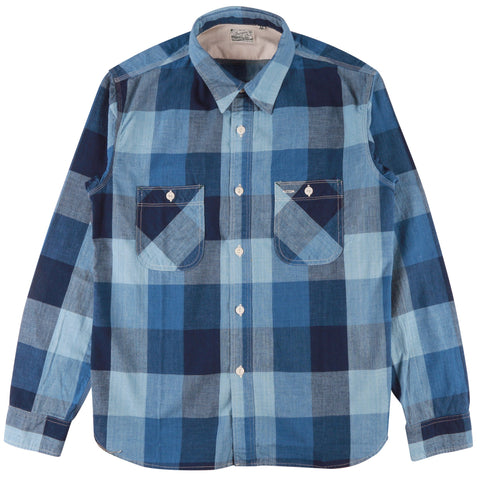 HBP-300CK-ID4 - Check Work Shirt - Indigo Block