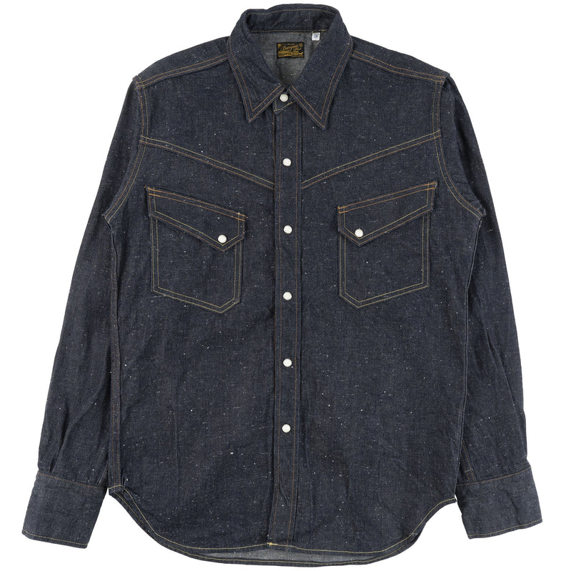 Burgus Plus - Long Horn Type Denim Western Shirt - Indigo - front
