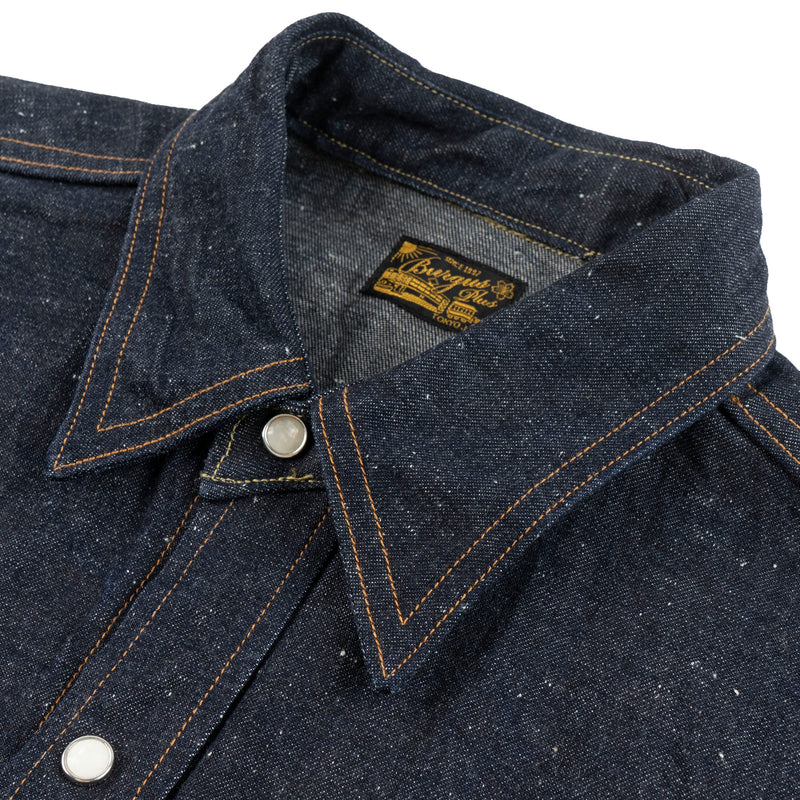 Burgus Plus - Long Horn Type Denim Western Shirt - Indigo - collar