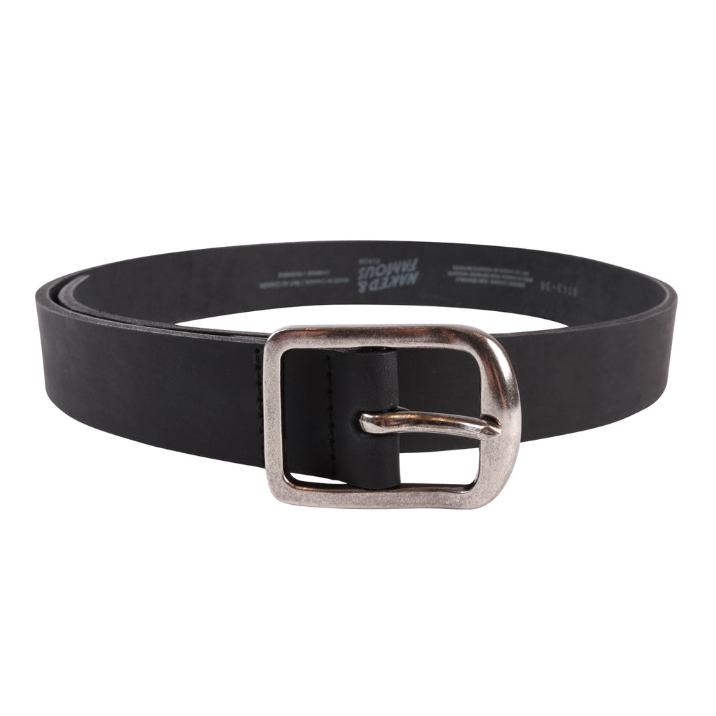 Thick 7mm Leather Belt - Black | Naked & Famous Denim