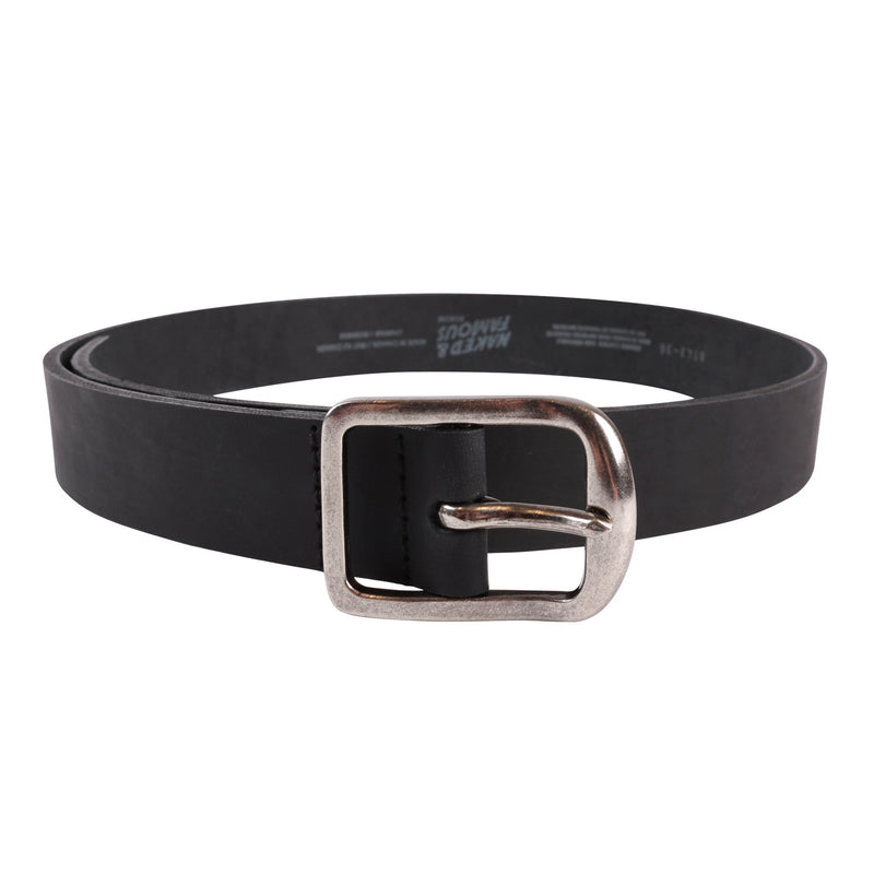 Thick 7mm Leather Belt - Black | Naked & Famous DenimThick Belt - Thick Bovine Leather - Black Media 1 of 2