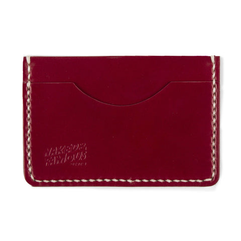 Shell Cordovan Leather Card Case - Imperial Red