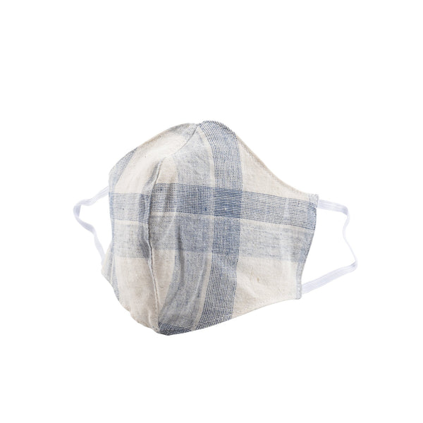 Protection Face Mask - Cotton Linen Plaid Blue - 1