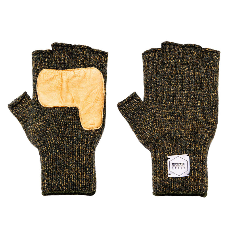 Fingerless Ragg Wool Gloves - Jungle Melange With Natural Deerskin - front