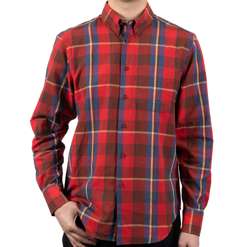 Easy Shirt - Summer Madras - Red- front shot