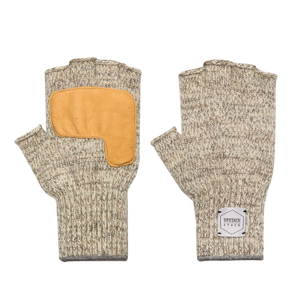 Fingerless Ragg Wool Gloves - Oatmeal Melange With Natural Deerskin | Upstate Stock