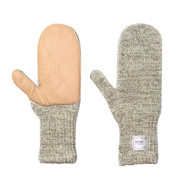 Ragg Wool Mitten - Oatmeal Melange With Natural Deerskin | Upstate Stock