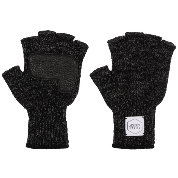Fingerless Ragg Wool Gloves - Black Melange With Black Deerskin