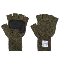 Fingerless Ragg Wool Gloves - Jungle Melange With Black Deerskin