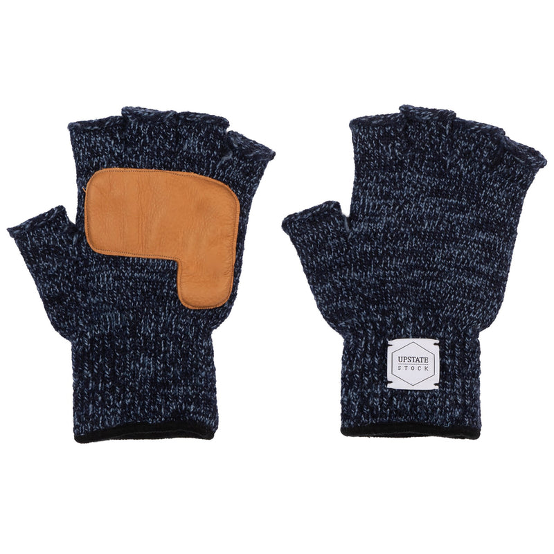 Fingerless Ragg Wool Gloves - Denim Melange With Natural Deerskin