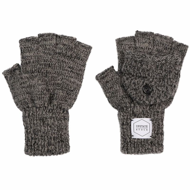 Ragg Wool Convertible Fingerless 'Glomitt' - Charcoal Melange | Upstate Stock