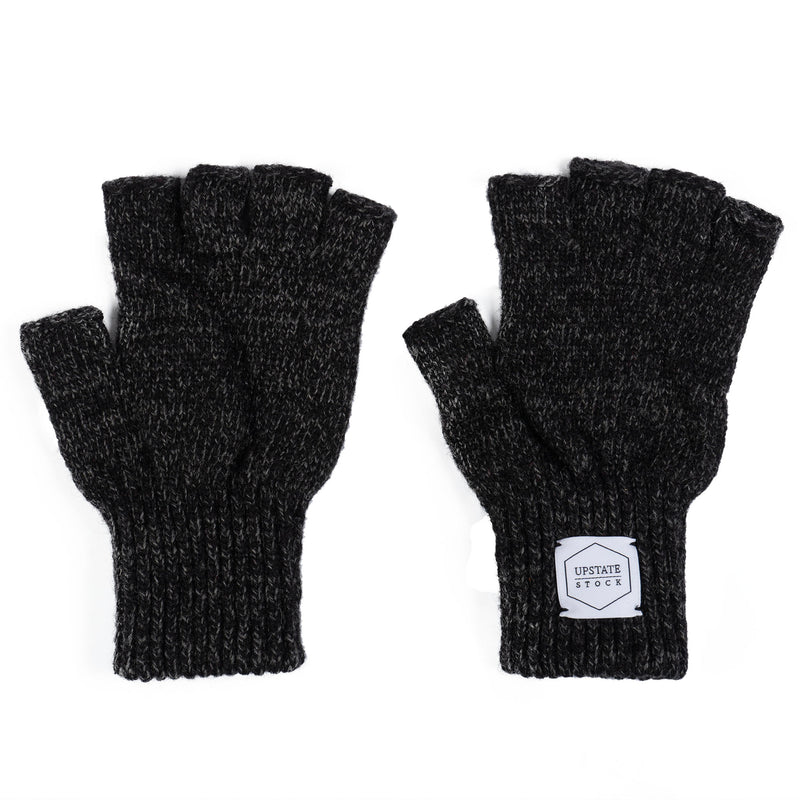 Ragg Wool Fingerless Glove - Black Melange
