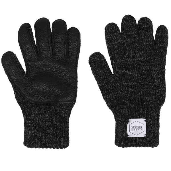 Ragg Wool Full Gloves - Black Melange With Black Deerskin
