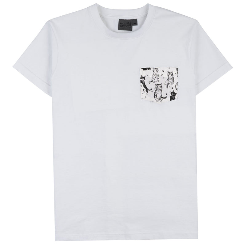 Pocket Tee - White + Cute Cats White - Front