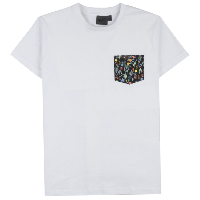 Pocket Tee - White + Pastel Flowers - Front