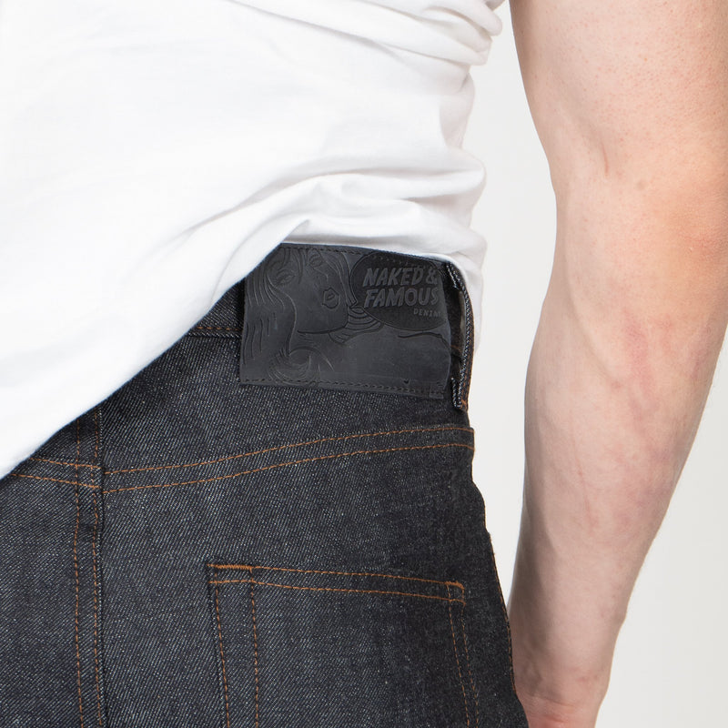 Easy Guy - Blue Core Selvedge - leather patch shot