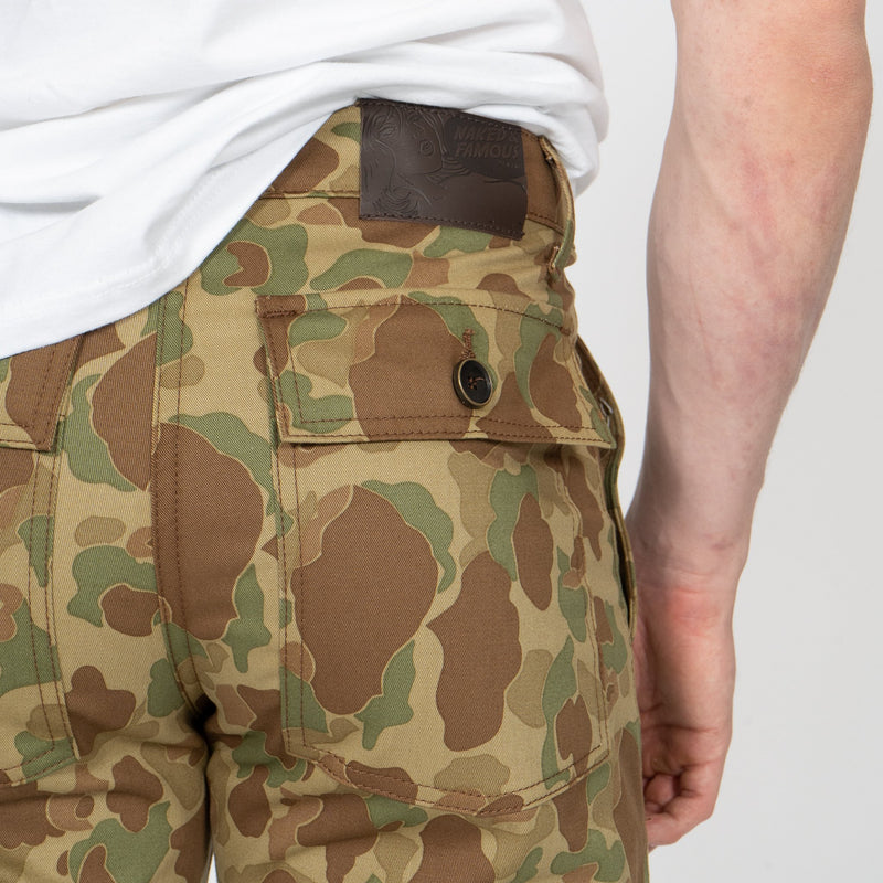 Work Pant - Double Sided Camo - Green - leather patch shot