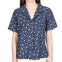 Women's - Camp Collar Shirt - Indigo Romantic Flowers - front