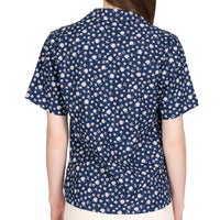 Women's - Camp Collar Shirt - Indigo Romantic Flowers - back